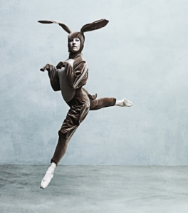 Ballet dancer dressed as a rabbit
