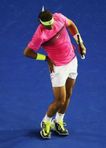 Rafa Nadal with muscle cramp
