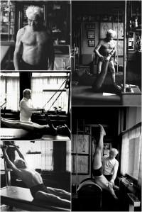 Multiple scenes of Joseph Pilates teaching clients
