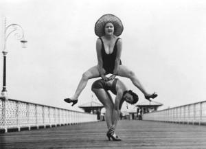 Leap frog on Llandudno pier, 1935