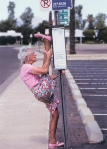 Old lady stretching