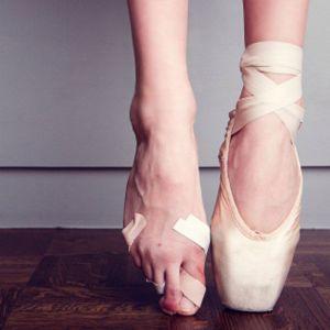A ballet dancer's feet on pointe